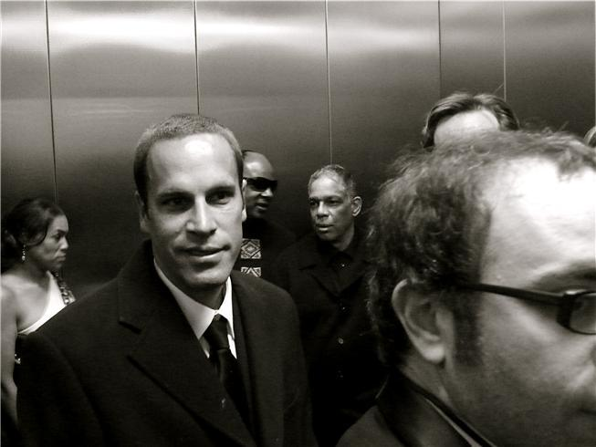 Mr. Johnson in the elevator