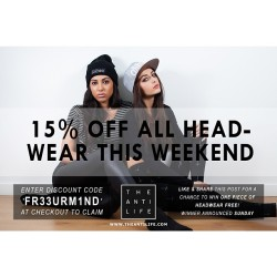 theantilife:  15% OFF ALL HEADWEAR THIS WEEKEND! REPOST & LIKE TO ENTER THE COMPETITION! #theantilife #weekendsale #giveaway (at The Anti Life)