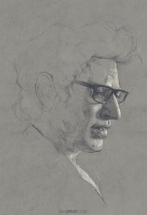 """Jeff Goldblum sketch"" - by Sam Spratt Another smaller sketch to break from my big painting."