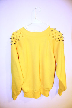 Gone Bananas Custom Spiked Sweatshirt Yellow M by MoonShineApparel on We Heart It - http://weheartit.com/entry/50140671/via/MoonShineApparel