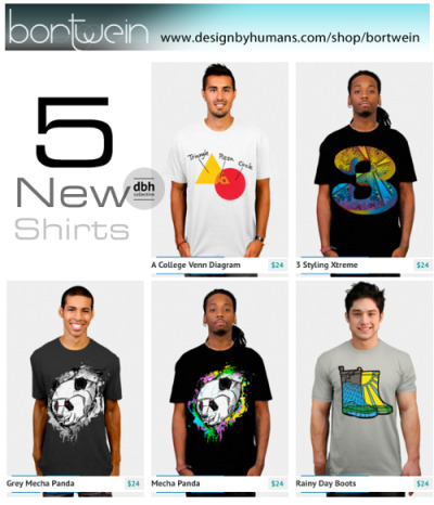 5 New DBH Collective Shirts by Brandon Ortwein There are now 5 New Shirts available in my DBH Collective clothing store. SHOP the whole store Now.or Shop The five new shirts: A College Venn Diagram 3 Styling Xtreme Grey Mecha Panda Mecha Panda Rainy Day Boots