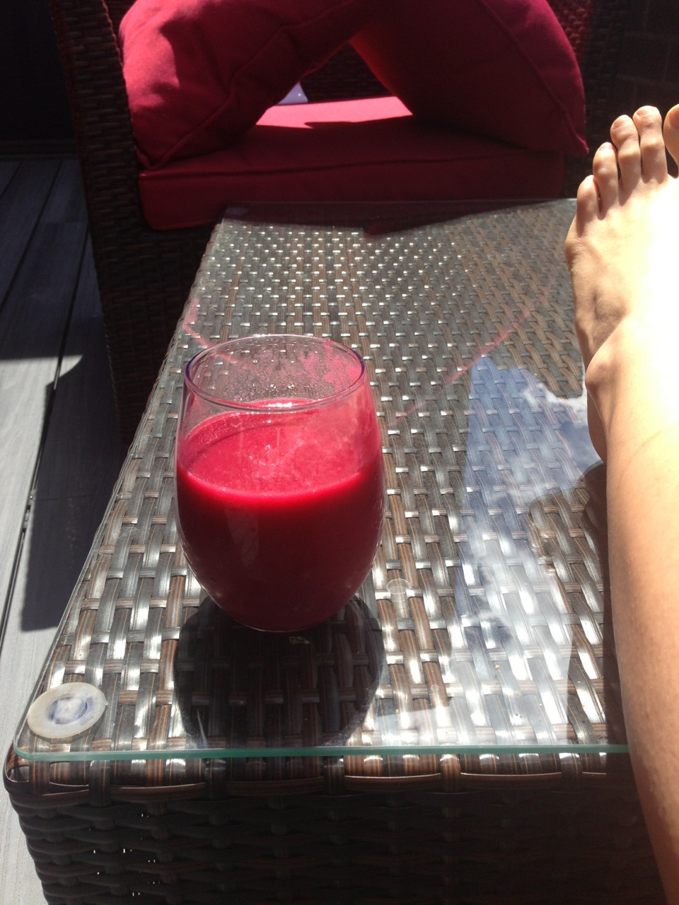 Blood red juice this lovely morning : kale beet mango cucumber zucchini