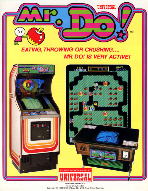it8bit:  Classic Ads: Mr. Do! Mr. Do! is an arcade game created by Universal in 1982. Remotely similar in gameplay to Namco's popular Dig Dug title, Mr. Do! was also popular and saw release on a variety of home video game consoles and systems. It went on to sell 30,000 units in the United States. [Wiki]