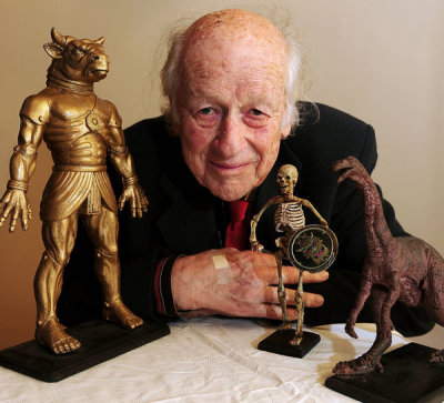 "futurejournalismproject:  Ray Harryhausen, Special Effects Extraordinaire, Passes Away Ray Harryhausen, the man responsible for stop-motion animation in such films as Jason And The Argonauts (1963) and The Golden Voyage of Sinbad (1973), died at 92-years-old on Tuesday, May 7, 2013. Via Huffington Post:  Though his on-screen credit was often simply ""technical effects"" or ""special visual effects,"" Mr. Harryhausen usually played a principal creative role in the films featuring his work. He frequently proposed the initial concept, scouted the locations and shaped the story, script, art direction and design around his ideas for fresh ways to amaze an audience.  Other than Harryhausen's impressive ability to multitask in all areas of film production, his approach to animation was unique and notable in that he didn't want his fantasy creatures to appear real to the audience.  Via Mashable:  Two things for those of us weaned on CGI to notice here. Firstly, although these clay models are made to seem like living, breathing creatures, Harryhausen didn't intend to replicate reality. He was looking for that curious, nightmarish effect stop-motion can have. ""If you make fantasy too real,"" he said, ""it loses the quality of a dream.""  FJP: Harryhausen is being called ""The Master of Stop Motion,"" by NPR, ""A Visual Effects Guru"" by The Los Angeles Times, and the ""Hollywood Effects Wizard,"" by USA Today. But to an ex-film-school rat who spent a good chunk of her educational years analyzing and worshipping the pioneers of sci-fi special effects — he's nothing but LEGEND.  And through his works of creative genius, his legend will live on. — Krissy Image: Ray Harryhausen with some of his creatures, Huffington Post"