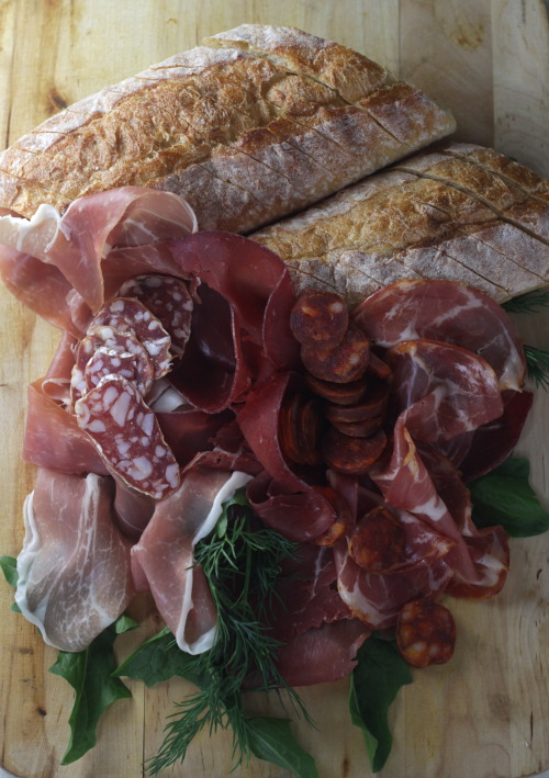 randwiches:  A dazzling meat board with prosciutto, bresaola, hot coppa, salumi, chorizo, dill, dandelion and baguette. Photo by Bethany Pickard aka The Bored Vegetarian.
