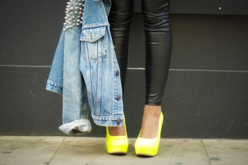 ohsnapitsj:  Denim, Neon, Studs & Leather… Ingredients for a fly recipe!