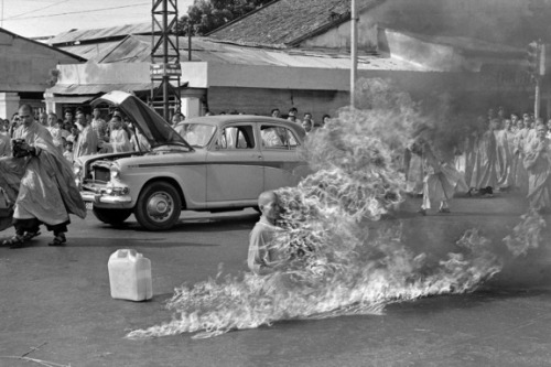 milktree:  Thich Quang Duc was a Vietnamese Mahayana Buddhist monk who burned himself to death at a busy Saigon road intersection on June 11 1963. Quang Duc was protesting about the persecution of Buddhists by the South Vietnamese government led by Ngo Dinh Diem. After his death, his body was re-cremated, but his heart remained intact. photos by Malcom Browne