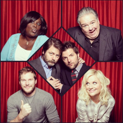 nbcparksandrec:  This is how excited the cast of Parks and Recreation is about TWO new episodes tonight at 9/8c!  I just love these people so much.