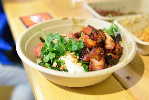 foodfuns:  Chubby Pork Belly  kochujang-lacquered Kurobuta rice bowl w/… http://bit.ly/15Z6HrV