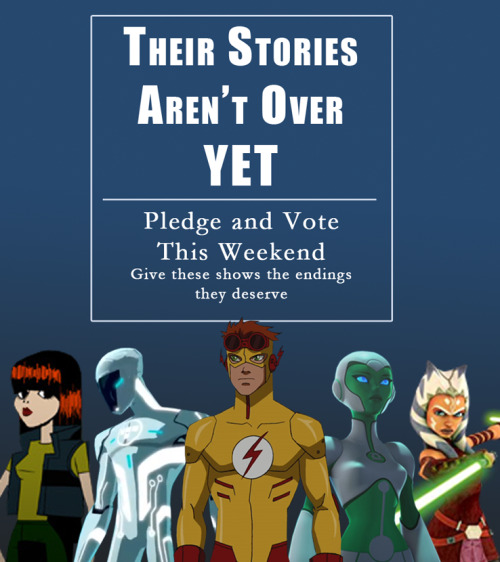 yjfanvids:   Weekend of Action!  Attention Fandoms: We've spent the past few weeks debating, researching, and questioning whether or not to trust SMGO. Now that all concerns have been addressed, it's time to put your money where your mouth is. Things have been moving very slowly lately, but we hope to change that very soon. First off, I propose the five biggest animated show fandoms relying on SMGO start working together. These are the Young Justice, Green Lantern: The Animated Series, Motorcity, Tron: Uprising, and Star Wars: The Clone Wars Fandom. Our aim this weekend (May 24th-27th) is get any of these shows that are still in the voting phase as close to 100% as possible. The YJ and GLTAS fandoms have already contributed over 300 votes to Tron and will continue to vote and spread the word. We will also start voting for Star Wars as it has recently been added to the SMGO page. The second objective of this weekend is to get Young Justice, which is currently in the funding phase, to $100,000 (preferably even higher). Yes, this is nowhere near the $10 million goal but we are hoping that if we can get pledges to rise quickly enough during a short span of time, we will be able to attract some media attention. Even if you have never seen an episode of Young Justice, please consider pledging. If it fails, it is very unlikely that any other show will have a chance of entering the funding phase. Also, rest assured that when the time comes, we will show you the same generosity that you showed us. With five fandoms working towards saving each show, the average pledge per series can afford to be lower and we'll reach our goals faster. Together, I am confident that we'll be able to bring back all our shows. Tag your votes and pledges #WeekendOfAction starting Friday, on twitter and tumblr, and let's see how far we'll get!