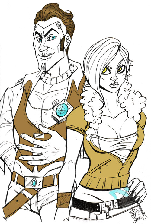 "12 Days of Video Game Hotties, Day 11! Handsome Jack and Lilith from the Borderlands series! Another game I haven't had a chance yet to try! However I absolutely LOOOOOOVE the style of the game. I like the cartoony, cel-shaded comic book style. It's very similar to The Walking Dead game, which I enjoy immensely. I watched a couple videos to try to get a feel for the characters… I learned that Handsome Jack is a villain (I originally thought he was a good guy) and Lilith's hair is beautiful (pink!!). I did enjoy a clip I watched where Handsome Jack called his diamond horse a ""Butt Stallion"" though. A++ for hilarity.Also, if you like/reblog this post you will be entered to win the original of this sketch as an added Holiday bonus to thank you all for supporting watching me! Yay!"
