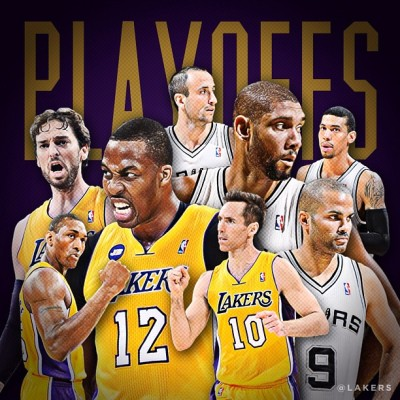 See ya on The Riverwalk. LAKERS ARE GOING TO THE PLAYOFFS!!! First Playoff game against second seeded San Antonio Spurs set to tip of this Sunday, April 21 down by the Alamo.  Even though the games haven't been the same without Kobe or Nash, I've still got faith in these boys.  Can't wait!! lakers:  Lakers defeat the Rockets 99-95 in OT and finish the season 45-37. The Lakers will be the 7th seed in the West & matchup with the 2nd seeded @spurs beginning Sunday in San Antonio. #GoLakers (at STAPLES Center)