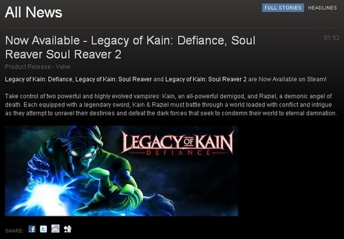 turnonred:  ladyscale:  Legacy of Kain is now on Steam!   SCREAMING SCREAMING SCREAMING