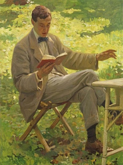 authenticfauxhemian:  Harold Knight (English portrait, genre and landscape painter) 1874 - 1961 Alfred Munnings reading, ca. 1910