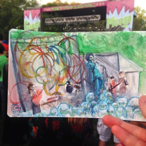 The Flaming Lips in watercolor at Prospect Park in Brooklyn!