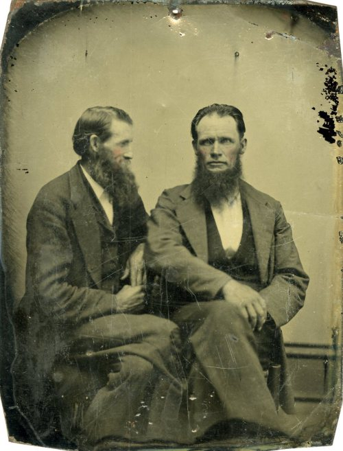 ca. 1860-70s, [tintype portrait of two bearded gentlemen,  David & Thomas Havens, identified on verso] via Jeffrey Kraus Antique Photographics