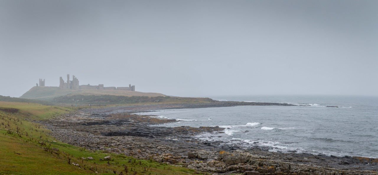 Dunstanburgh Castle on a misty day #dunstanburgh castle#castle#dunstanburgh#northumberland#coast#mist#weather#landscape#photomerge#panorama#ruins#canon#70d#canon 70d#tim dennis #tim dennis.tumblr #lensblr#pws #pws photos worth seeing #english heritage#waves#sea#north sea#rocks