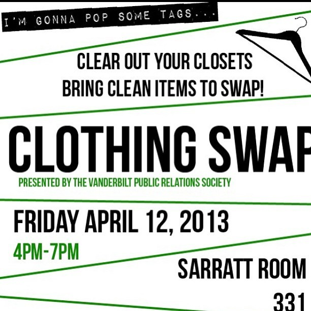 VPRS hosts: The Clothing Swap today!! Sarratt 331 4-7pm…bring your old clothes and come trade with someone else #thrift #swap #vprs #vandypublicrelations #popsometags open to all schools in Nashville!!