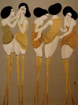 alexandrainspire:  Stilts, 2010, Oil on linen, 203.2 x 154.2 cm/Hayv Kahraman
