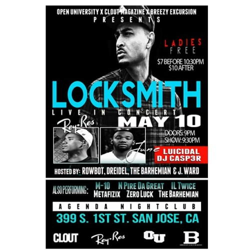 To all my folks from California Im performing here May 10th Agenda Nightclub San Jose
