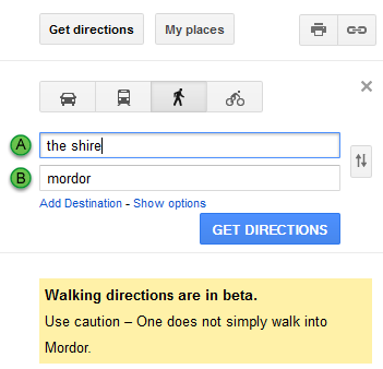 saneisboooring:  laughingsquid:  Amusing 'Lord of the Rings' Walking Directions From the Shire to Mordor in Google Maps  :D
