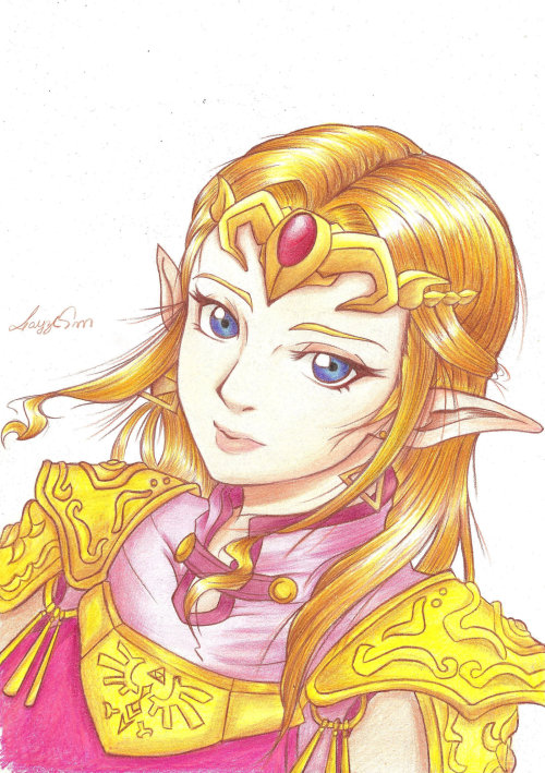 "layzemichelle:  Princess Zelda from Ocarina of Time, I drew with a colored pen called ""Faber Castell"""