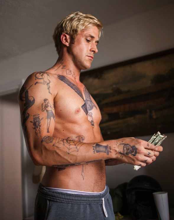 darklamb:  mynewplaidpants:  This shirtless Ryan Gosling shot appears nowhere in The Place Beyond the Pines, but I'm glad they released it anyway so's I can see it somewhere. See also: this picture.  Mmhmm.  wtf yes