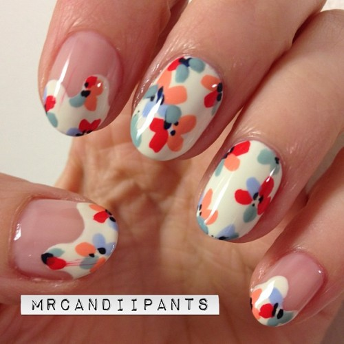 mrcandiipants:  They're not quite as fun as my nails from yesterday, but I'm pretty happy with how these turned out. They aren't exactly what I pictured in my head, but they'll do!