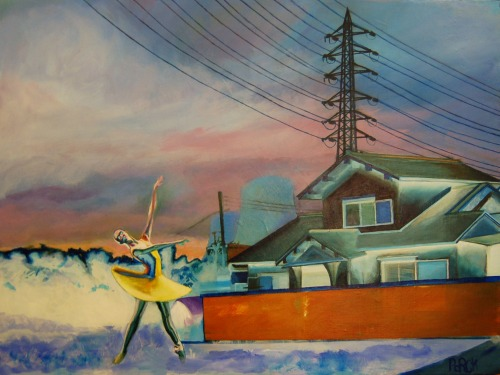 "A Ballerina Presents an Ordinary House 24"" x 18"" acrylic on canvas. The ballerina is actually presenting the distant memory of nuclear power… 8 'O"