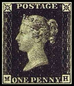 wasbella102:  The Penny Black Stamp: The Penny Black was the world's first adhesive postage stamp used in a public postal system. It was issued in Britain on 1 May 1840, for official use from 6 May of that year. Worth £3 - 4,000 in mint condition ($4611 - 6148)  I just re-read my favorite of Terry Pratchett's Discworld novels: Going Postal. If you look, this is the model for the chapter spot illustration of the one penny stamp, only with Lord Vetinari (I think they share the same nose…)