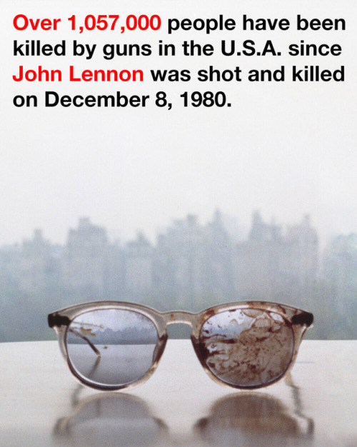 laughingsquid:  Yoko Ono Denounces Gun Violence with a Photo of the Eyeglasses John Lennon Wore the Night He Was Shot