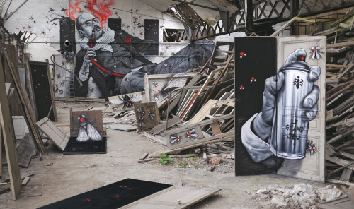 "vandalog:  ""Le grand jeu"" by IEMZA & MTO in an abandoned space in Muizon, France. Photo courtesy of MTO.  I am slowly having an increased fascination with street art."