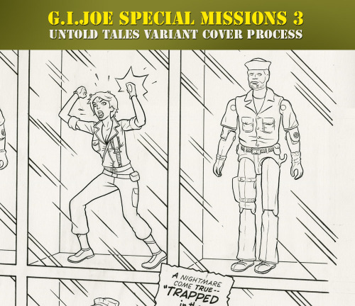 A couple people asked me about the original art for my G.I.Joe Special Missions #3 cover. So I thought I'd post some process pics. The Untold Tales series of covers I've done for G.I.Joe Special Missions have been inspired by popular comics genres of the past. Issue one was romance:  Issue two was crime (note the Charles Biro-style signature):   For the third issue, I wanted to try something sci-fi/horror related. I'm a big fan of Ogden Whitney (learn more about him on ComicsComics). He did a lot of work for American Comics Group in the 50s and 60s. His mature style was very clean and a little stiff and generic. It's reminiscent of clip art. This style worked great in a variety of genre stories. Besides Herbie and a bunch of great romance stories, he did a lot of work on ACG's sci-fi/horror titles like Forbidden Worlds and Journey Into the Unknown. These comics, combined with Whitney's clean, restrained style were much different in tone than horror comics like EC-published or even the monster stories of pre-superhero Marvel. They were a little more like twilight zone. I thought combining G.I.Joe figures with G.I.Joe cartoon characters could create an uncanny sensation. I wasn't aware of any previous G.I.Joe comics that incorporated the toys in a literal way so that aspect of the idea also appealed to me.  After pitching the concept, I did a couple of sketches:   I've become more interested in comic book grids in the last few years. I drew this cover around the same time as the Vanilla Ice pinup I made for Ed Piskor's Hip Hop Family Tree. And I like the idea of the 9 panel grid as a design element.  After some editorial feedback, I add titles and crop the chosen sketch to fit the cover trim:  I can't find any pencils for this cover…I guess I went from sketch approval to line art/black-and-white. One of the challenges of this step was choosing which figures to use. This was part of creating the color composition and also trying to pick iconic figures. My friend has a bunch of G.I.Joe figures, so I went through them and laid out different combinations. I was disappointed not to use Wild Bill in the final version. That figure looks nuts.   So here is the original art scan. One of the best parts of working on these covers was that the editor, John Barber, allowed me to hand-letter them.  After approval of the line art, I added color, which I think has become a more important part of comics illustration than it used to be - in the sense that it's what people see first (especially if its viewed as a thumbnail online) and it can absolutely ruin a good drawing or make average artwork look much better. The blue header block is a nod to Ace Double Sci-Fi paperback design.  If you're into original art, my first G.I.Joe Special Missions cover is currently on auction on comiclink. There's a large scan of it here (if you're not into original comic art, but your friend is, please pass along this link).