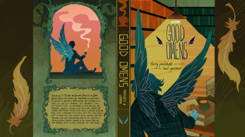 sonialiao:  Good Omens cover (front, back, spine and wings) for Book Illustration. I wanted to go back to my flat style for a bit just to see how else I could use it (and also the fact that I haven't used it at all since coming back to school from winter break, which is just plain weird). Aziraphale and his cocoa on the front; Crowley with tea on the back.   I already own four different versions of Good Omens but I sure as hell could use another - what a shame it isn't real, because this is GORGEOUS :3