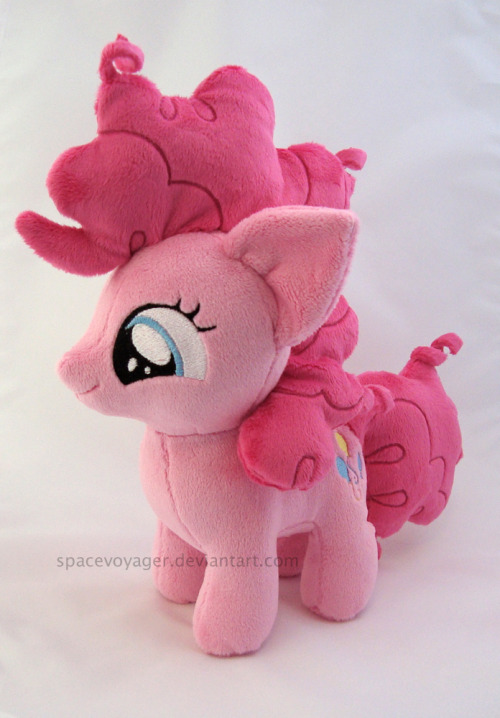 Pinkie Pie filly! Made from minky fabric with machine embroidered eyes.