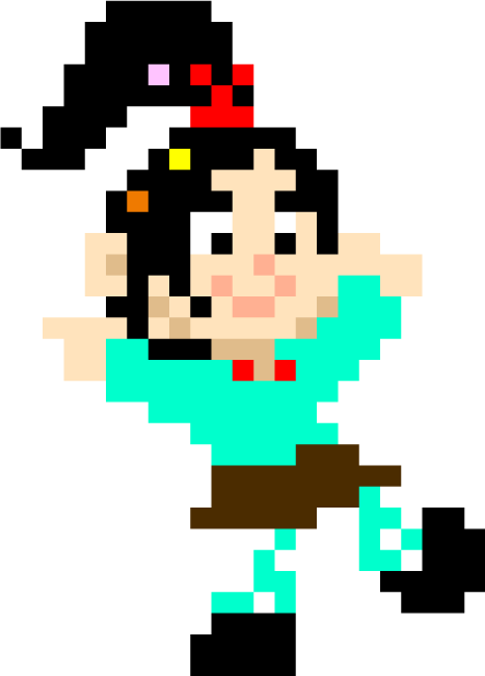 8-Bit Vanellope as she appeared at the dance party in the credits.