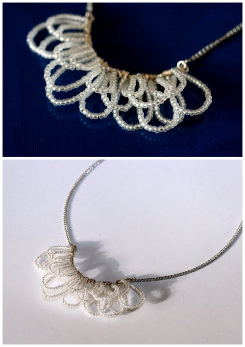truebluemeandyou:  DIY Wire Bead Petals Necklace Tutorial from LYSM Design here. This is a really cheap and easy DIY from LYSM Design. The bottom photo is from her post here. There is a translator on the right hand side.