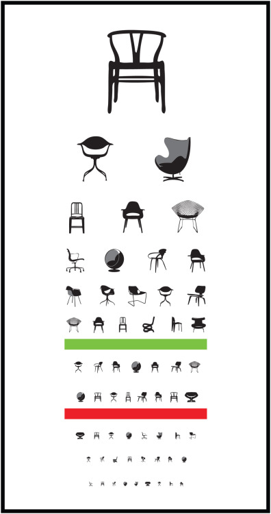 midcenturymodernfreak:  If you're starting to see iconic designer chairs instead of letters on this chart, you've been staring at your computer screen for way too long. Mid-Century Eyesight Chart | Design: Joel Pirela of Blue Ant Studio Via