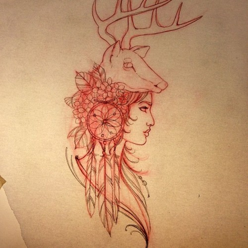 Starting this on Jessica today. #deerheaddress (at Humble Beginings Tattoo)