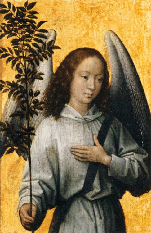 renaissance-art:  Hans Memling c. 1475-1480 Angel With An Olive Branch, Emblem of Divine Peace Source
