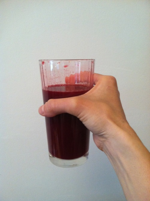 Juicing with my blender!  Beet-apple-pear-carrot-ginger-lemon!