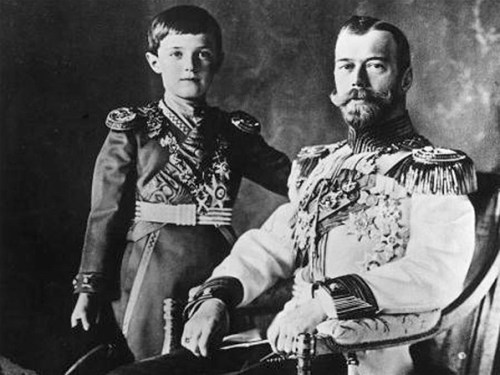 Nicholas II of Russia and his son, Tsarevich Alexei, wearing military uniforms.