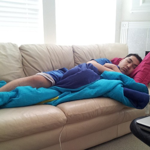 Day 2 of seeing him asleep when i got home. #sleepyhead @randompham