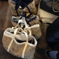 Custom bags at #smalltradecompany love love love #burlap