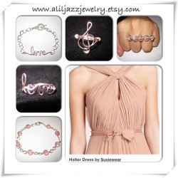 My Pink Collection with Susiewear Halter Dress on Etsy www.aliljazzjewelry.etsy.com #fashion #jewelry #style #instacollage @aliljazzjewelry