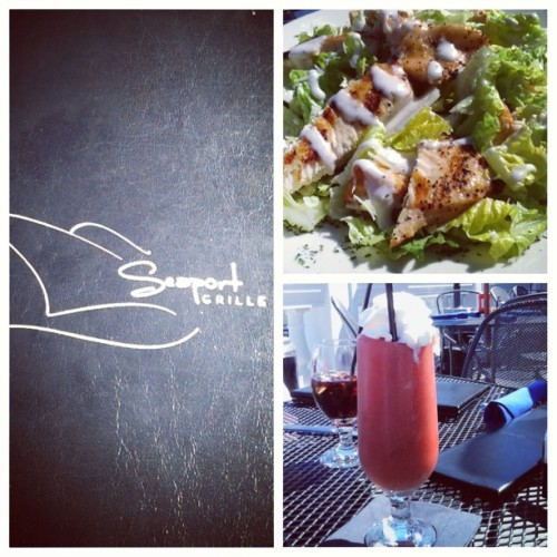 "My friday lunch at ""Seaport Grille"". #caesarsalad with #chicken #strawberryjuice #yummy #nomnom #perfect #beautifulday #relax #seaportgrille #gloucester    (at Seaport Marine Terminal)"