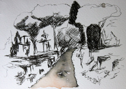Drawings from Italy (landscapes) using ink pen, watercolour, collage and coloured pens.