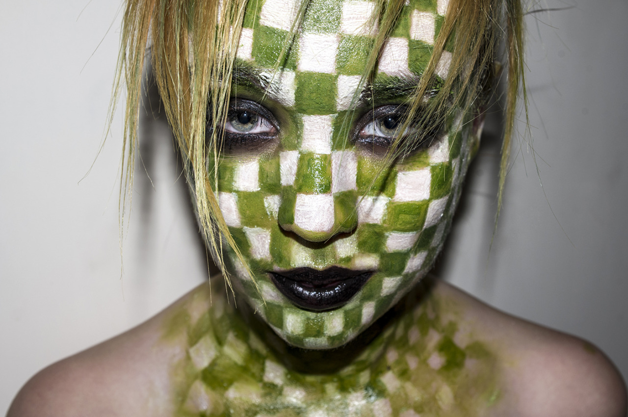 Beauty shoot inspired by current Louis Vuitton Campaign.Squares painted on by myself. Model - Binny Kyle Allan  http://kyleallanphotography.tumblr.com/