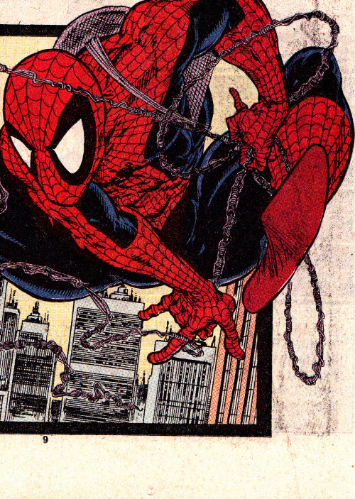 "jthenr-comics-vault:  Spider-Man on the move fromAmazing Spider-Man #318 (August 1989)""Sting Your Partner!""Art by Todd McFarlane"
