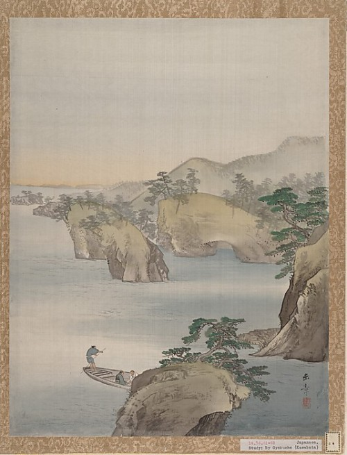 River Scene with Rocky Hills in Background, Kawabata Gyokusho. Album leaf; ink and color on silk.